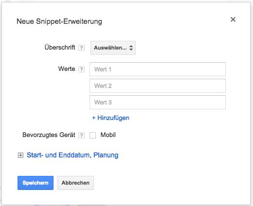 Dialogbox zum Anlegen einer Snippet-Erweiterung.