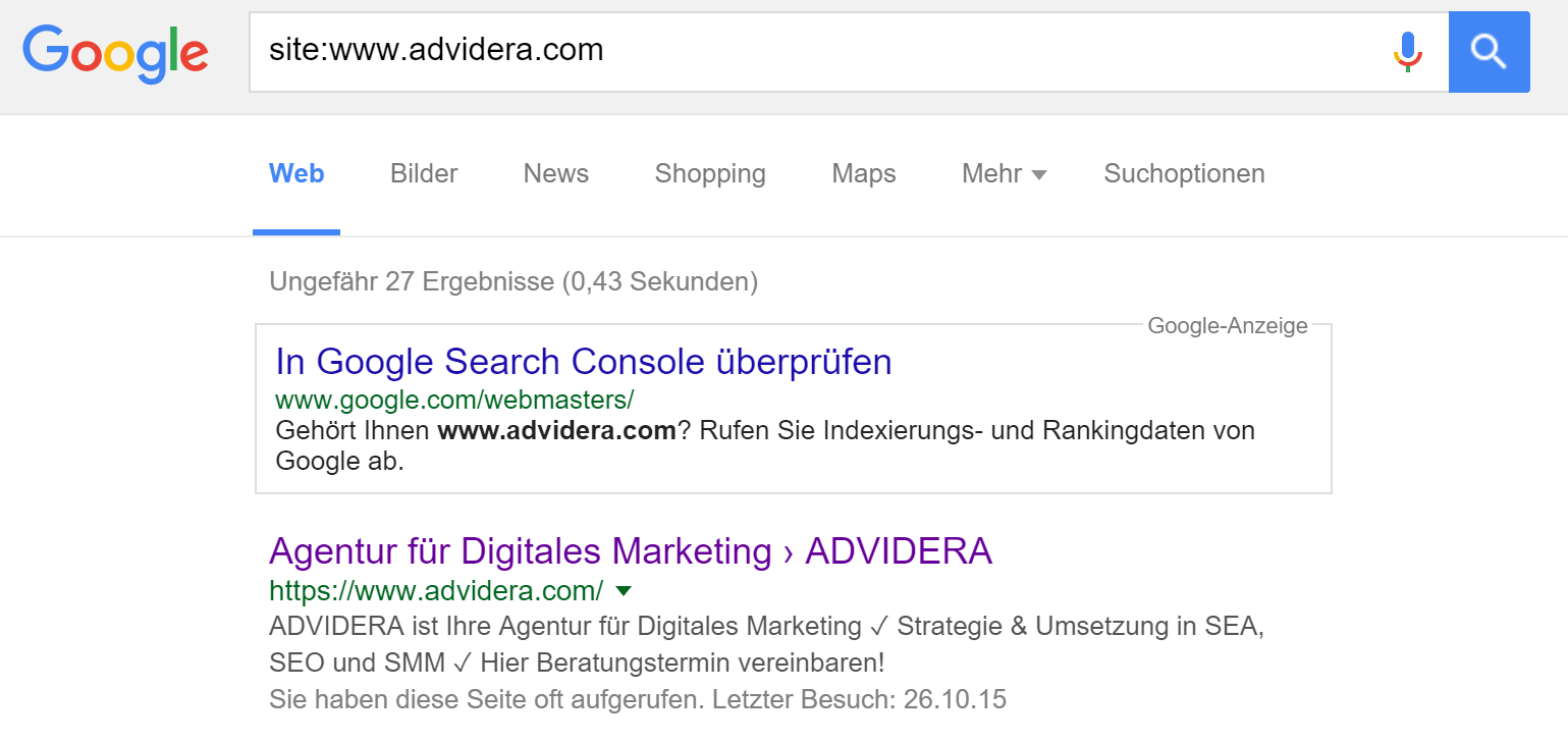 Site Abfrage bei ADVIDERA