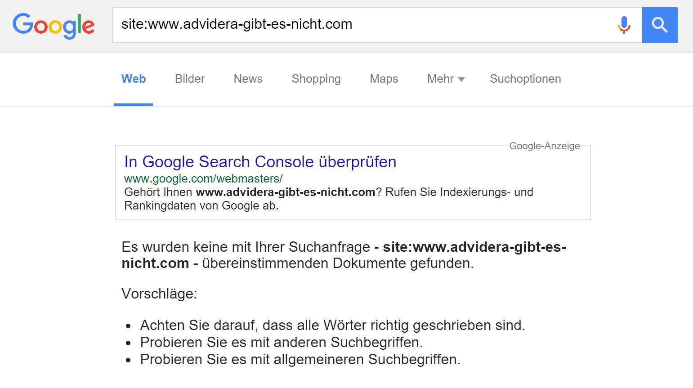 Site Abfrage ohne Ergebnis