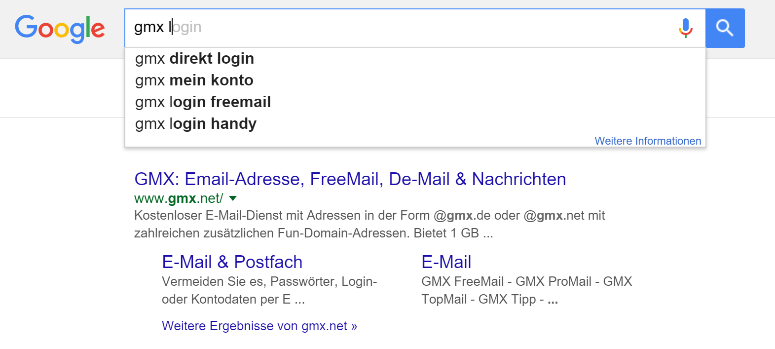 GMX Login Suchanfrage