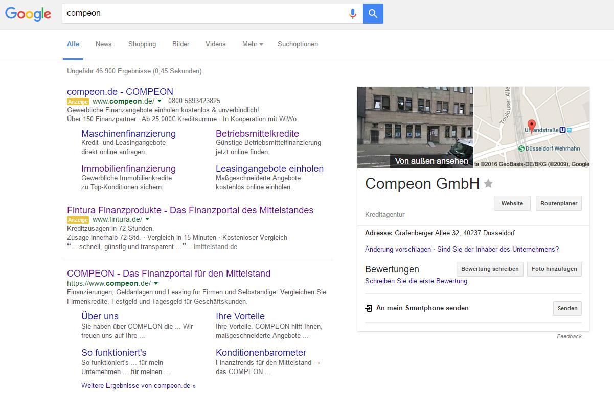 Beispiel für Brand Bidding in Google AdWords.