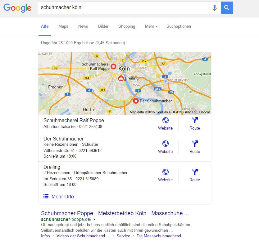 SERP: Google Suchergebnis mit lokalen Places (my Business) Ergebnissen.