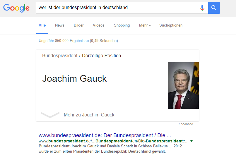 Google Knowledge Graph Ergebnis.