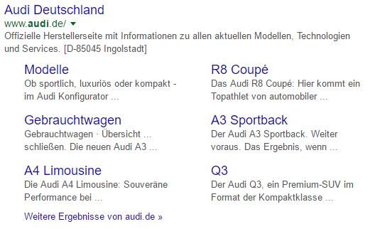 Beispiel für Einblendung von Sitelinks in die organischen Suchergebnisse