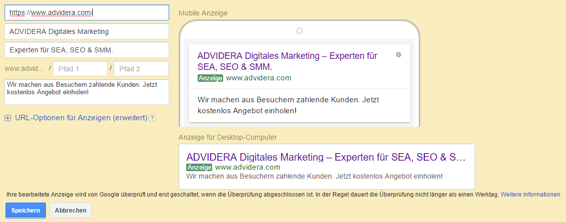 Screenshot: Erstellung von Expanded Text Ad in AdWords.
