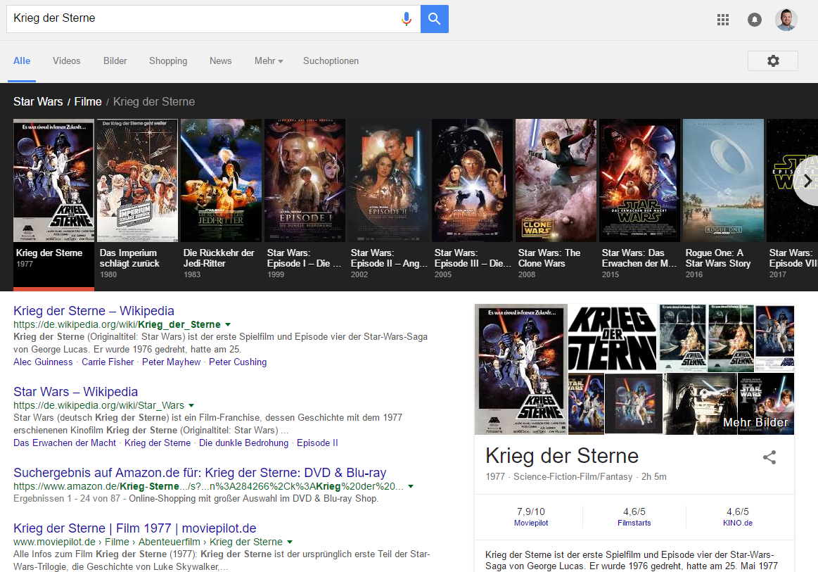 Screenshot: Knowledge Graph Karussell zur Filmreihe Star Wars.