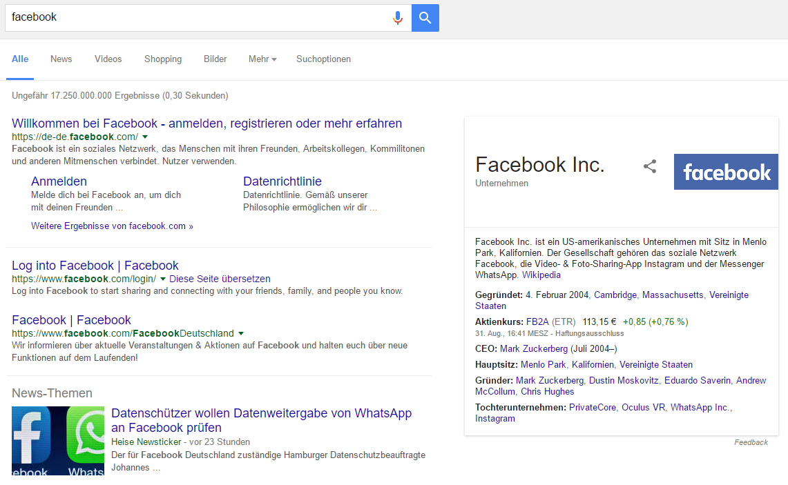 "Screenshot: Knowledge Graph Marken Ergebnis zu ""Facebook""."