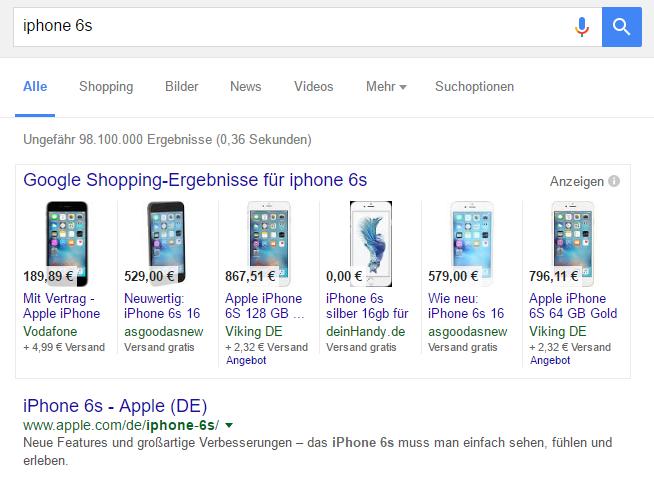 Google Shopping Anzeigen direkt über den organischen Suchtreffern.