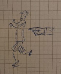 Skizze wie eine Figur von einem Zeigefinger geschubst wird