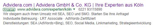 AdWords-Anzeige im Suchnetzwerk