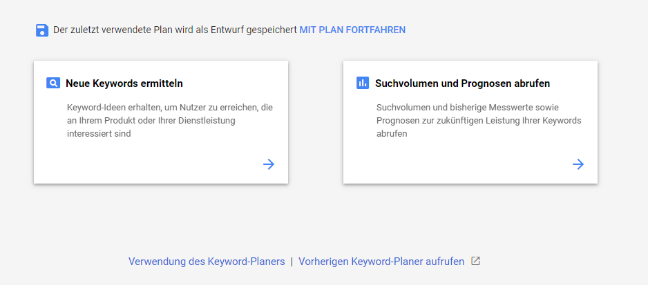 Interface vom Google Keyword Planner