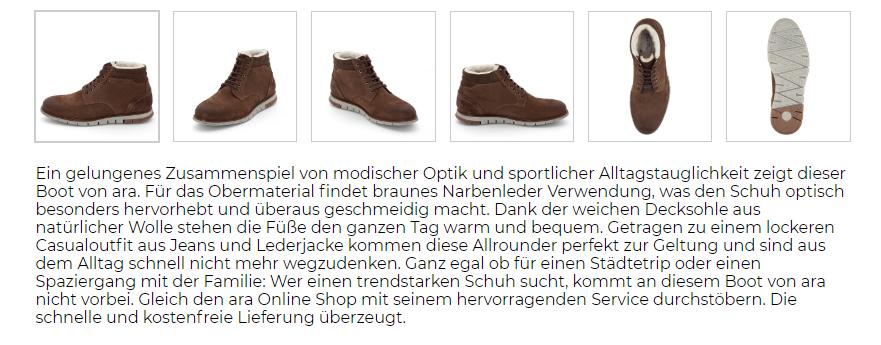 Produktbeschreibung ara shoes Mats robuster Boot aus Narbenleder