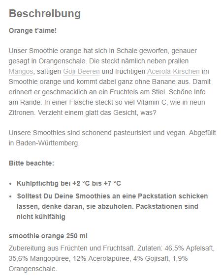 Produktbeschreibung truefruits Smoothie orange 250ml
