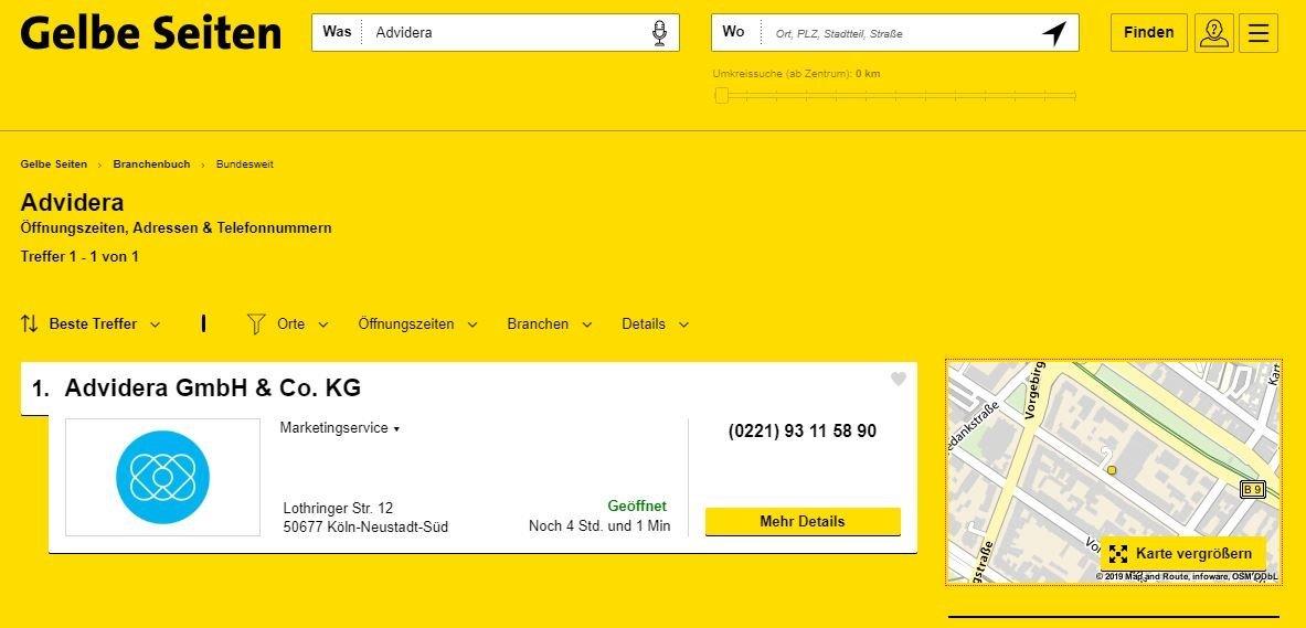 Gelbe Seiten-Eintrag von Advidera