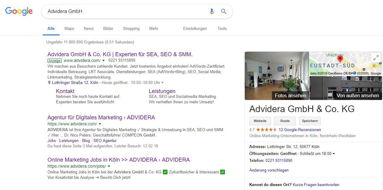 Beispiel für eine Suchanfrage mit der Google-Suchmaschine