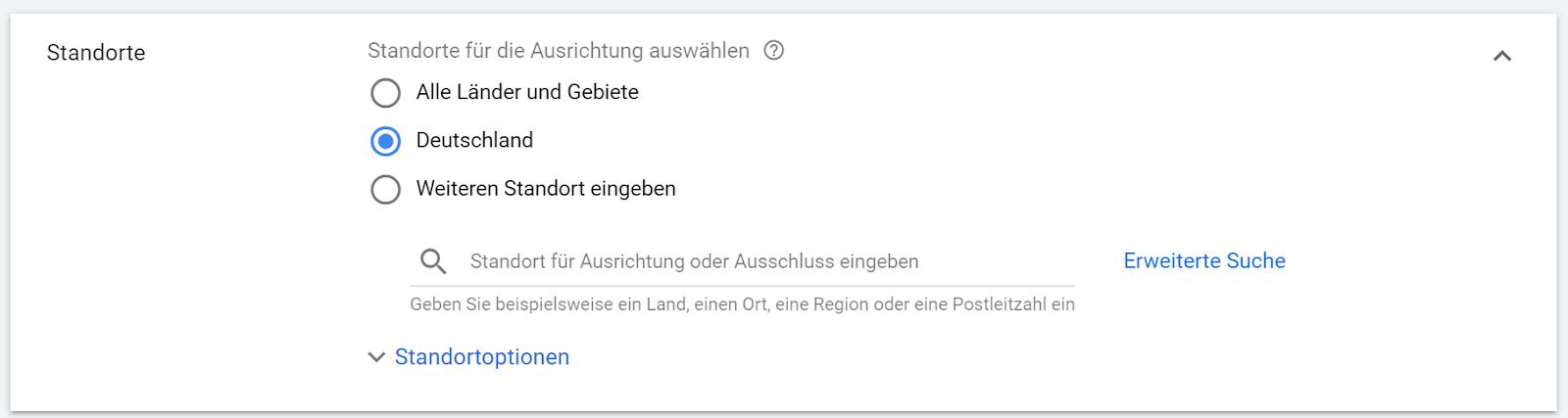 Auswahl des Standortes bei Google Ads