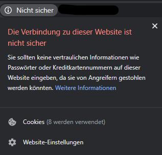 Anzeige von Google Chrome bei einer unsicheren Seite