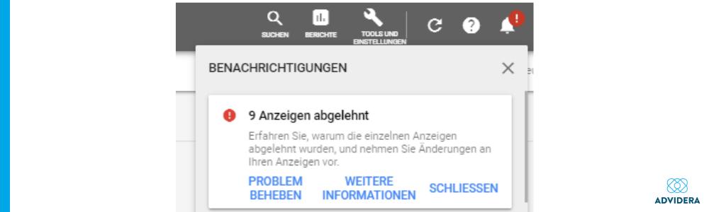 abgelehnte Anzeigen Google Ads Richtlinien