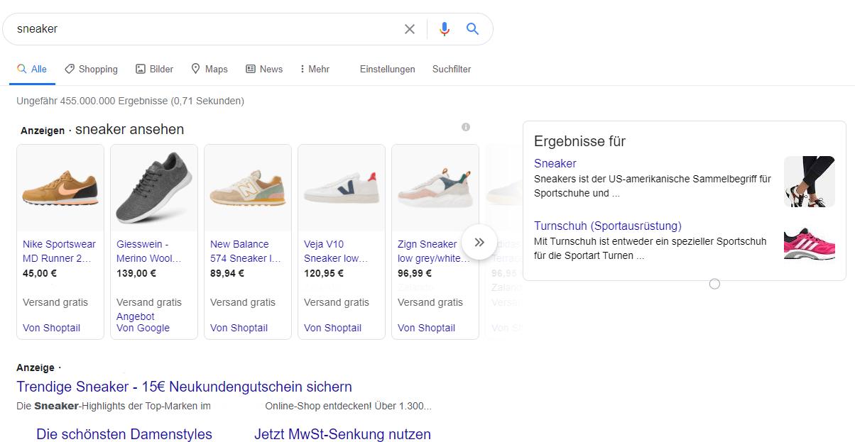 Google Shopping Beispiel